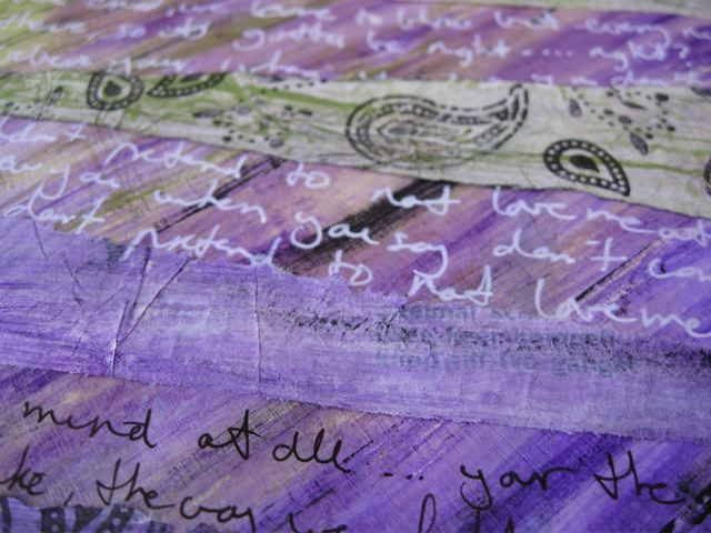 Detail picture of art journal layers and writing