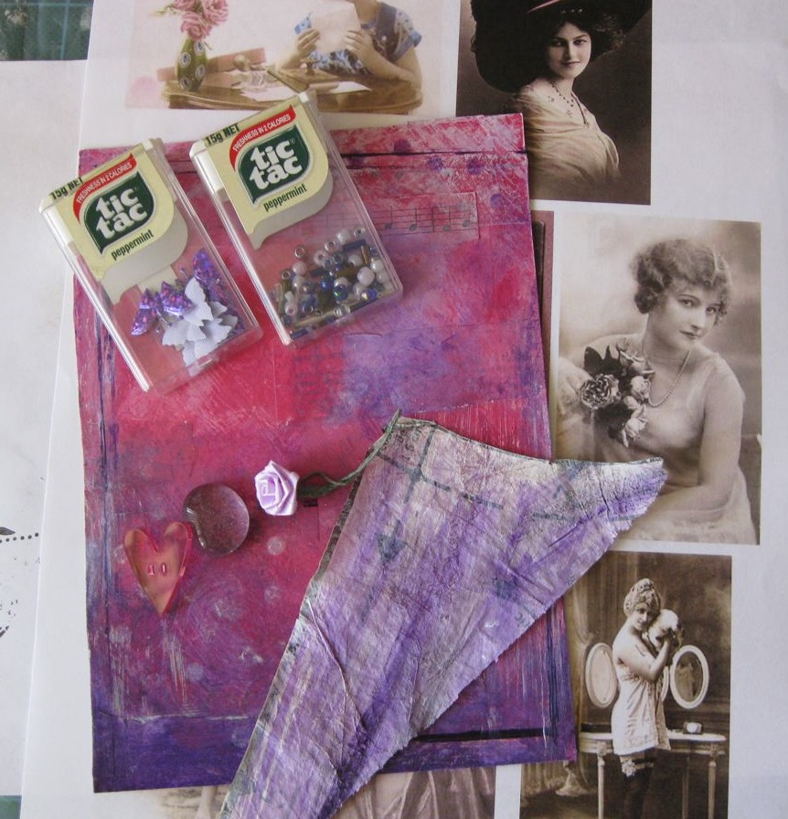 Collecting pink and purple elements for collage