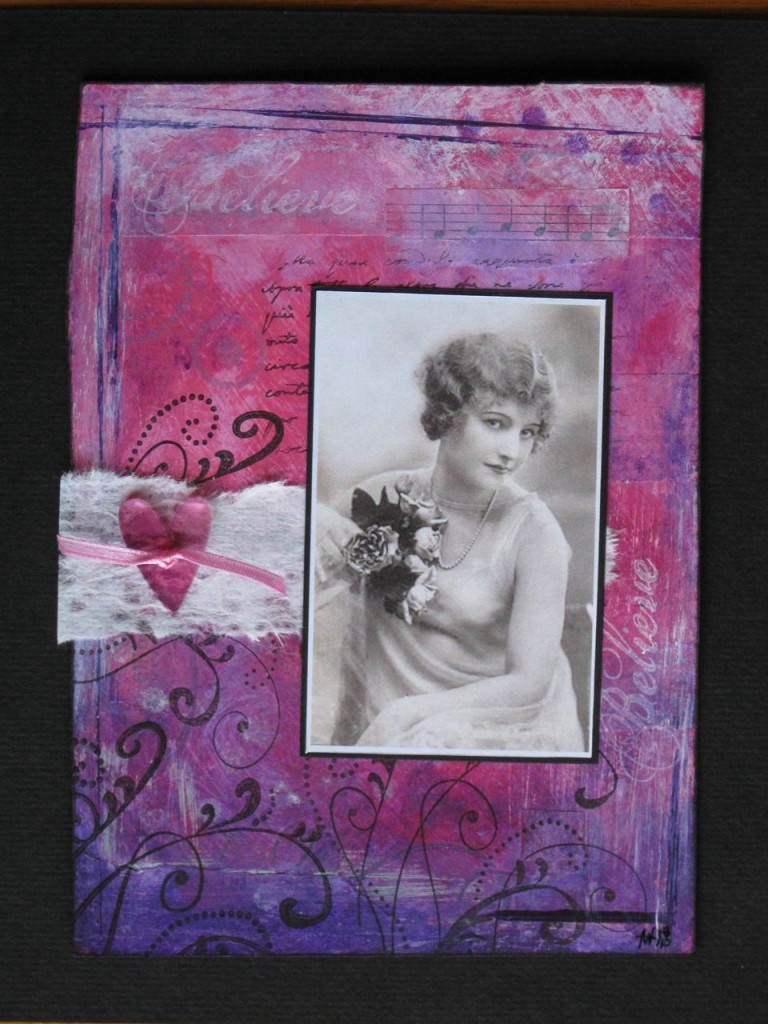 mixed media art collage in pink and purple