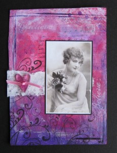 pink and purple background mixed media collage