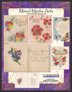 Vintage mixed media ephemera greeting cards