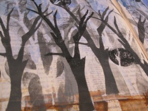 painting with stencils is an easy way to add layers in mixed media paintings