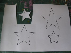 Collaged mixed media Christmas star