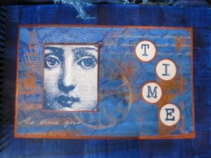 blue mixed media painting