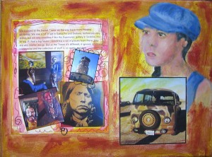 travel journalling and photos collaged onto canvas