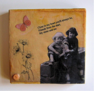 canvas beeswax collage