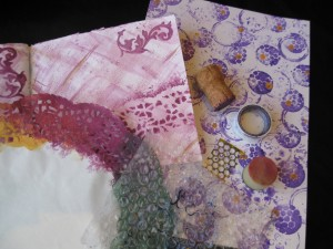 corks, sequence scrap and bubble wrap are all great for mixed media painting