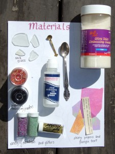 materials needed to make your own coloured faux dichroic glass