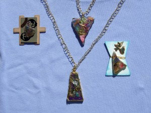 faux dichroic glass pendants and brooches
