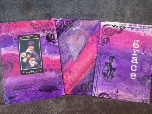 these purple canvases were created for this online tutorial