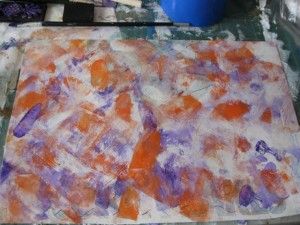Use two coloured acrylic paints