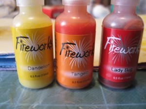 Dandelion, Tangelo and Lady bug fireworks sprays