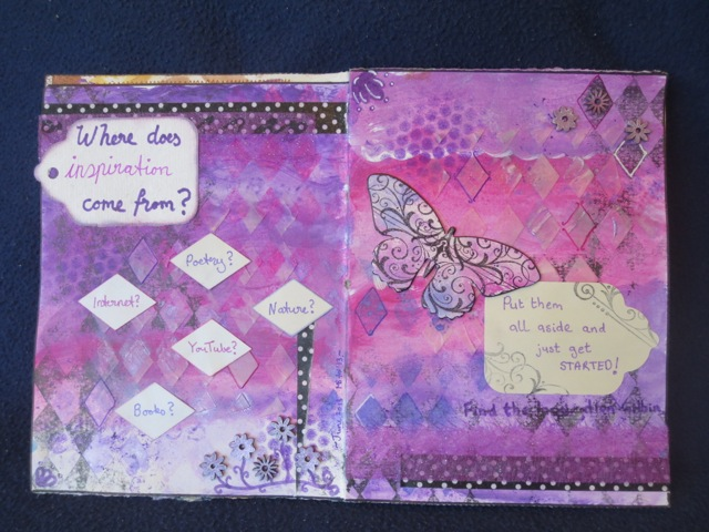 mixed media art journal layout