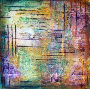 scratched mixed media painting