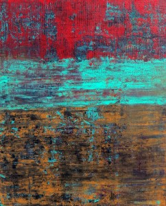 Bright reds and aqua brings our attention to this piece