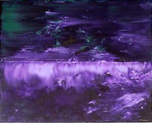 Brilliant purples in this mixed media piece