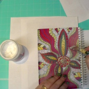 Art Journal layers with paints and stencils