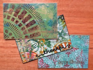 Using gesso and acrylic paints to create postcard art