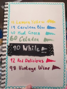 Watercolored paper is a great surface for Tsukineko All-purpose Inks and Fantastix applicators