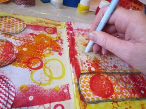 Add colour with All-Purpose inks to mixed media art journals