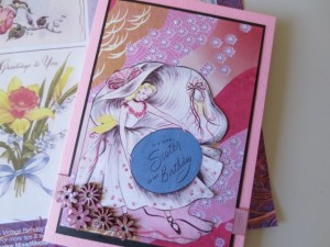Pretty pink birthday card with vintage image