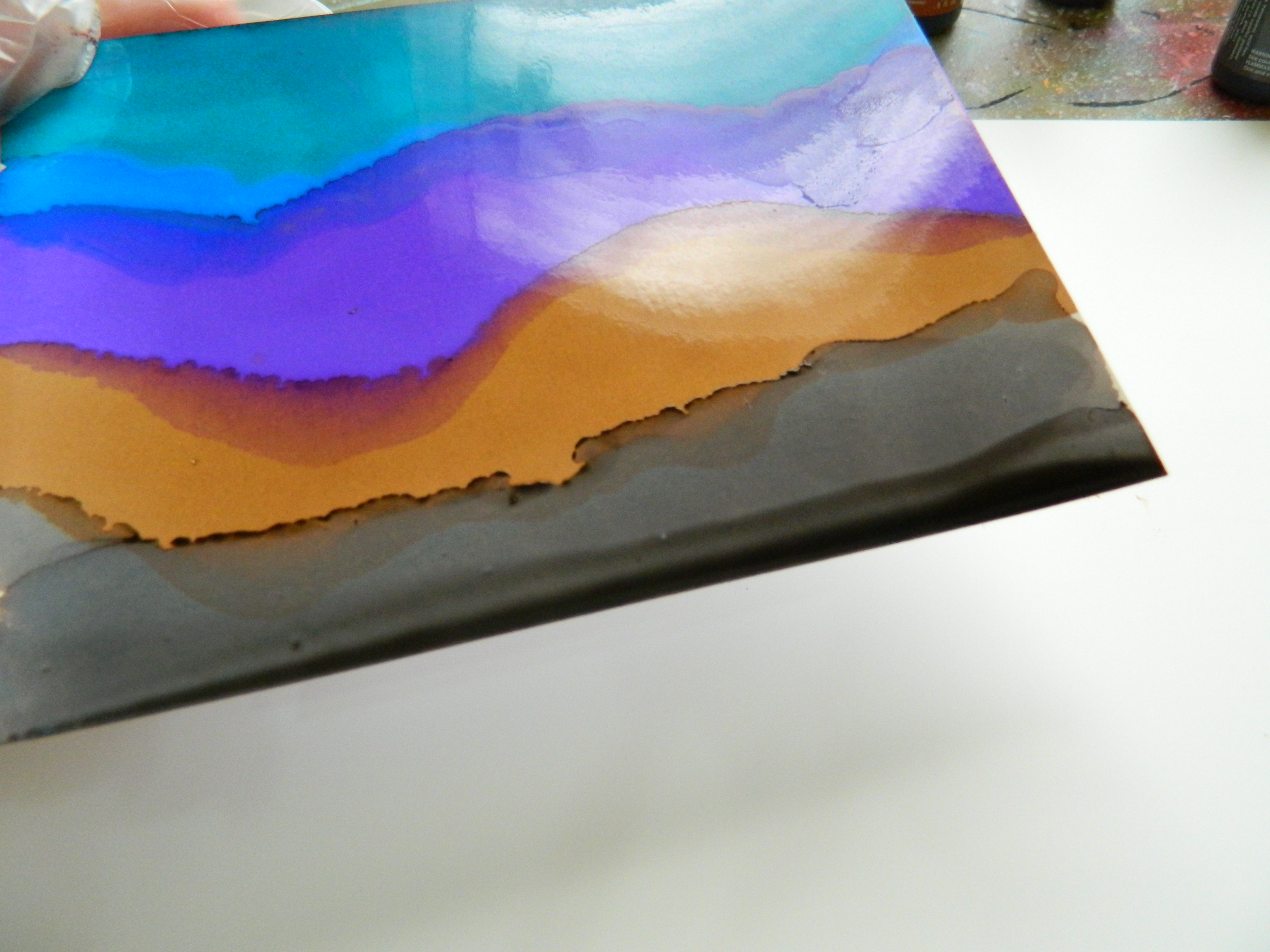 Creating landscapes with alcohol inks creative lovely backgrounds on yupo with inks baditri Images