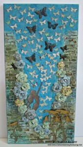 Marjolaine created mixed media art using found objects and things in her studio