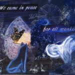"""Illuminated letter collage """"We Came In Peace"""" focusing on the letter M"""