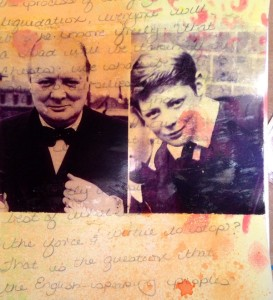 speeches of Winston Churchill create an interesting background for this mixed media collage