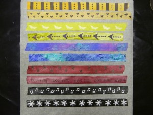 Paper tape decorated with mixed media