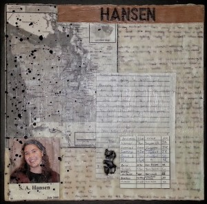 Letters and memorabilia used in an encaustic collage with a family history theme.
