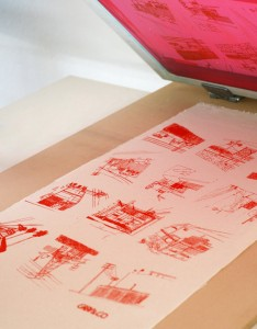 Silkscreen printing on fabric by Graphic Designer Gaby