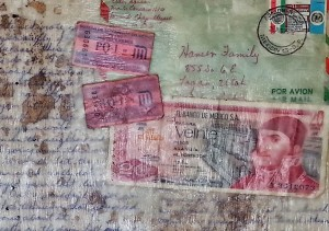 mission ephemera in encaustic collage