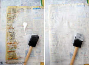Apply gesso to phone book paper
