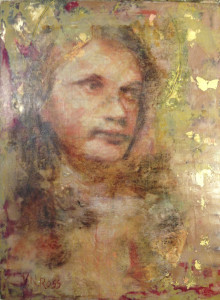 Encaustic, Pastel, Collage, and Gold Leaf