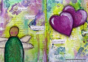 Mixed media art journal layout with Dylusion sprays, stamping and collage