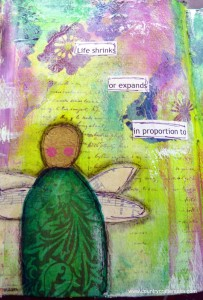 Angel in art journal by Tamara Dinius