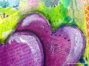 mixed media ephemera hearts