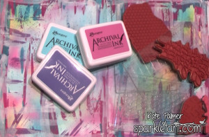 Stamping on Rainbow Grunge Background