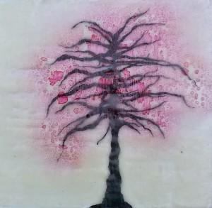 Tree drawn directly onto encaustic wax