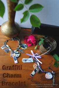 Martice Smith II demonstrates how to make graffiti charm bracelets ATC canvas sheets