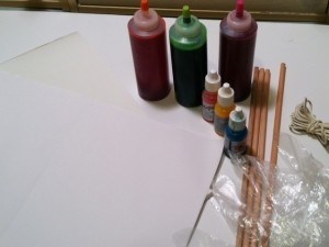 Materials for tie-dyeing paper