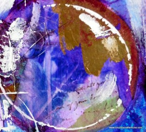 Purple circles feature in Tamara Dinius mixed media art journal layout
