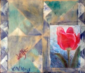 Quilt pattern created in deli paper and encaustic by Vicki Ross