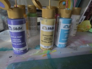 creating prints with Acrylic Paints Folk Art