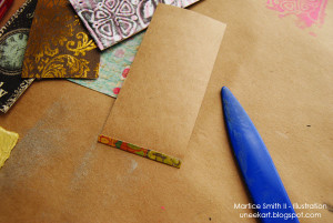Fold up one edge of cardstock paper. Crease fold.