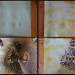 Making the background with collage, gesso and inks