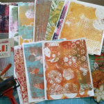gelli plate, printed papers, and stencils