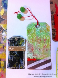 Example of embellished Gelli plate gift tags by Mixed media artist and designer, Martice Smith II