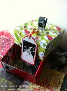 Example of gift tag on box by Mixed media artist and designer, Martice Smith II